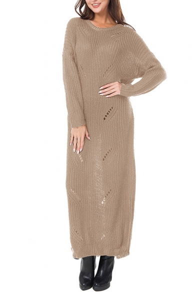Maxi Simple Plain Neck Hollow New Long Sleeve Out Sweater Dress Round Fashion wqCtE5v