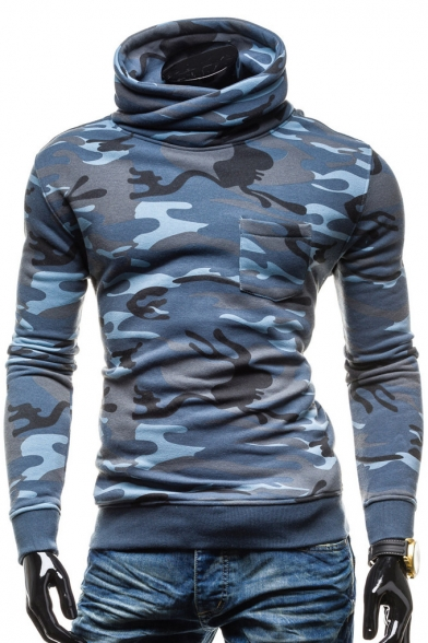 Print Turtleneck Hoodie Stylish New Long Sleeve Camouflage vqxF7g7E