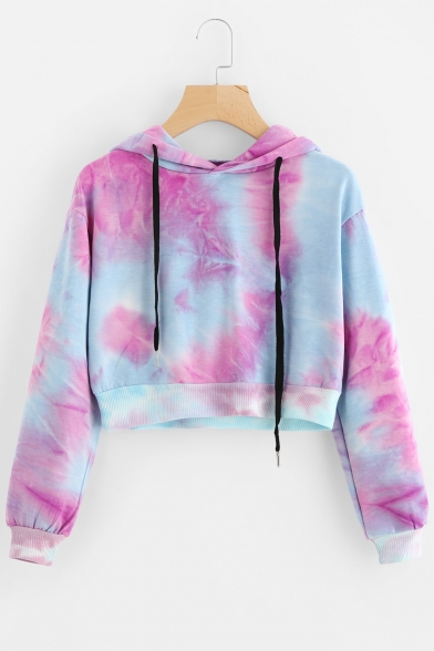 49c52ae7e5776 New Stylish +Color Block Print Drawstring Long Sleeve Crop Hoodie -  Beautifulhalo.com