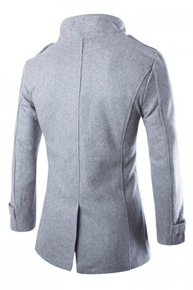 New Stylish Double Breasted Long Sleeve Stand-Up Collar Plain Tunic Coat