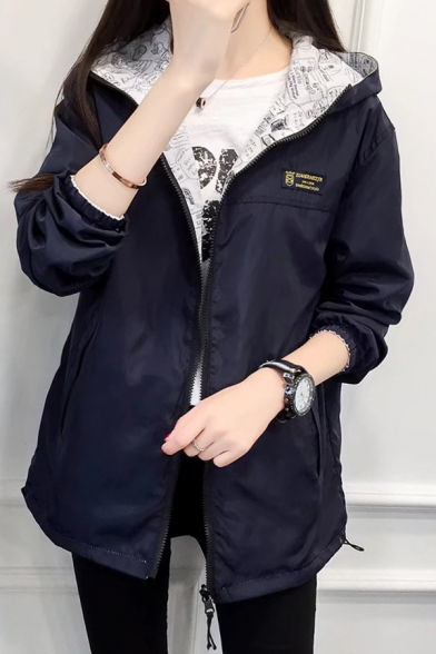 Long Zip Reversible Sleeve Print New Up Coat Stylish ng81q1
