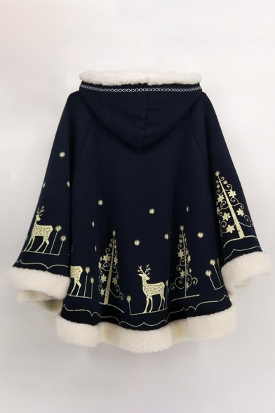 Simple Leisure Cartoon Deer Tree Print Hooded Long Sleeve Cape