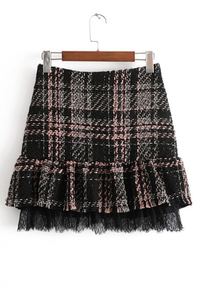 Winter Fashion Tartan Plaids Peplum Hem Zippered Mini Skirt Trimmed with Lace