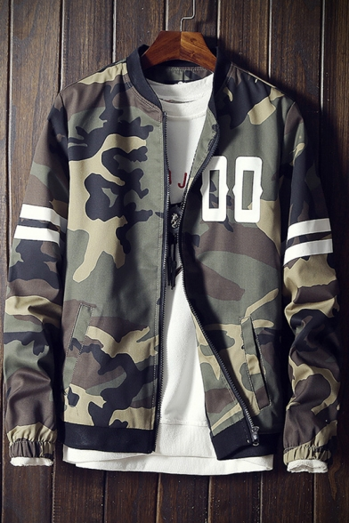 Camouflaged Zip Striped Long Pockets Printed Jacket up with Baseball Sleeve Letter fwrxa6Cqf
