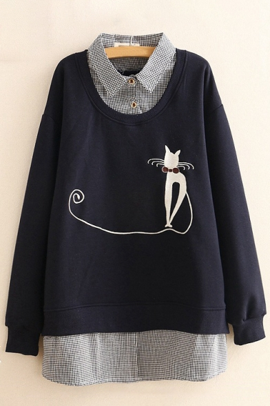 Piece Pullover Tunic Cat Sleeve Two Sweatshirt Embroidered Chic Long Fake RwxqfWAccB