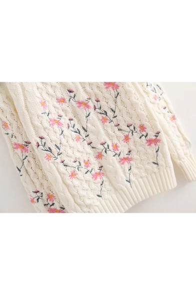 Chic Sleeve Sweater Round Long Neck Floral Pullover Embroidered vwxvrCBXq