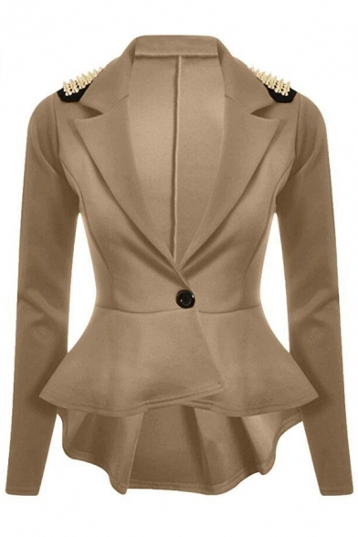 Notch Lapel Embellished Rivet Long Simple Blazer Chic Sleeve 5PnqEwSaxq