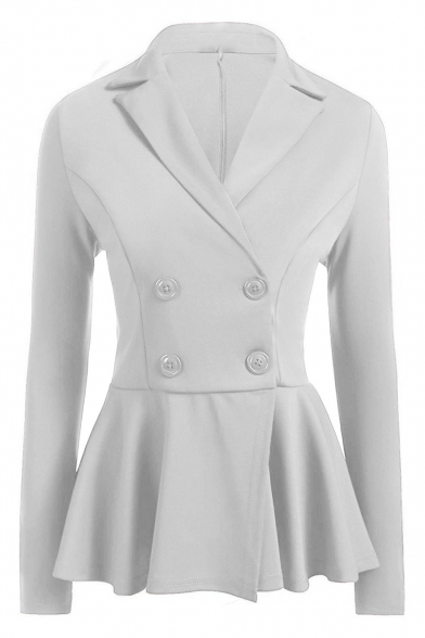 Chic Simple Plain Notxh Lapel Long Sleeve Slim Blazer
