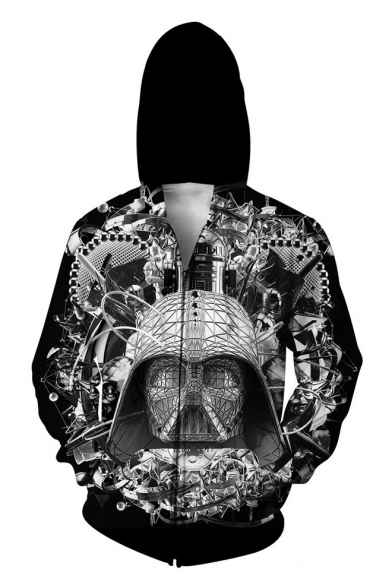 Zippered Space Skull Cool Printed Hoodie Pockets with Long Sleeves q7vBX