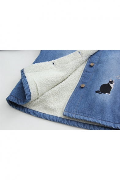 Fashion Embroidery Cat Pattern Long Sleeve Single Button Denim Hooded Jacket