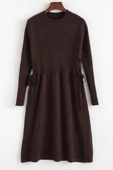 c58df9dc735 Fashion Plain Long Sleeve Gathered Waist Round Neck Knitted Skater Dress ...