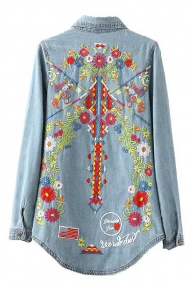 Floral Embroidered Lapel Long Sleeve Buttons Down Denim Shirt
