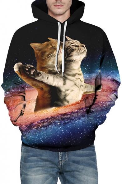 Galaxy Titanic Cat Printed Long Sleeve Hoodie with Kangaroo Pocket