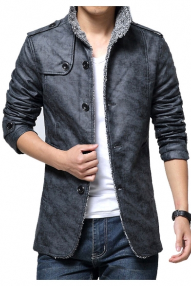 Men's Winter Warm Simple Plain Stand-Up Collar Long Sleeve PU Coat