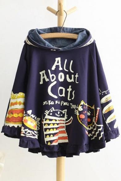 New Fashion Cartoon Cat Print Hooded Ruffle Hem Long Sleeve Cape Coat