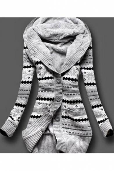 New Fashion Graphic Pattern Buttons Down Long Sleeve Longline Cardigan