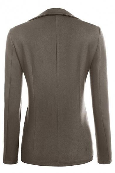 New Fashion Simple Plain Notch Lapel Long Sleeve Slim Blazer
