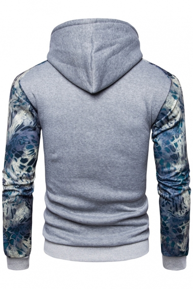 New Drawstring Hood Sleeve Hoodie Print Stylish Long block Color rRIqrwUa