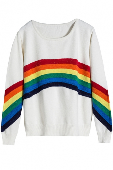 New Stylish Color Block Striped Round Neck Long Sleeve Pullover Sweater