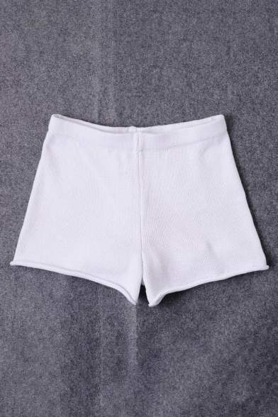 New Stylish High Waist Simple Plain Kitted Shorts