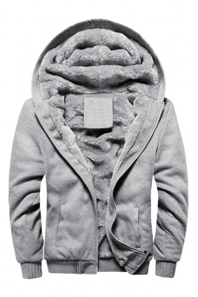 Plain Long New Zipper Simple Coat Stylish Hooded Sleeve Unisex wgqXqpxF1