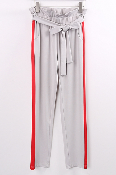 New Stylish Striped Side Ruffle Drawstring Elastic Waist Pants