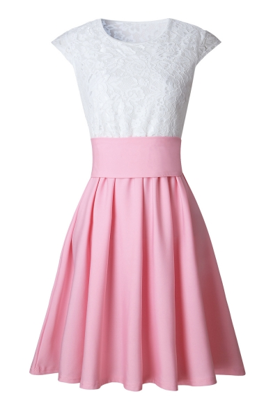 Nifty Cap Sleeves Round Neck Lace Panel Tiered Pleated Mini Bubble Dress