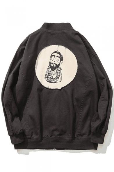 Retro Fashion Cartoon Print Stand-Up Collar Long Sleeve Baseball Jacket