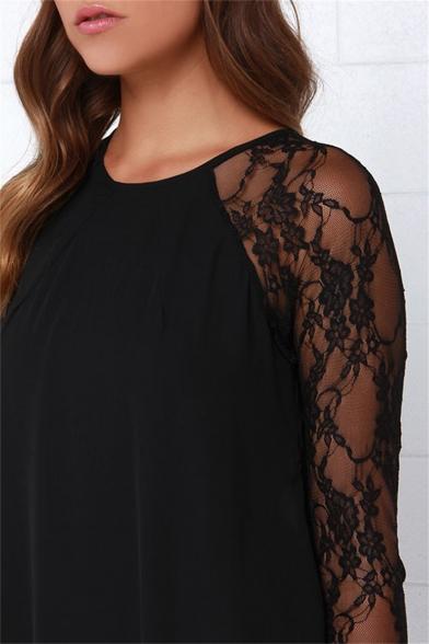 Sexy Chiffon Floral Meshed Lace Raglan Long Sleeves Round Neck Cutout Back Mini Shift Dress
