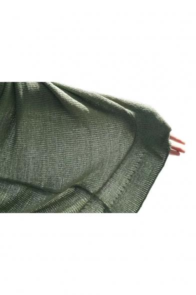 Simple Plain Off Shoulder Long Sleeve Tie Waist Ruffle Hem Dress