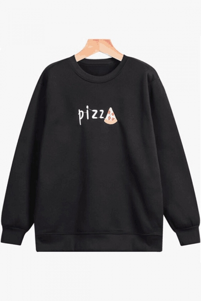 Simple Round Neck Long Sleeves Letter Printed Pullover Sweatshirt