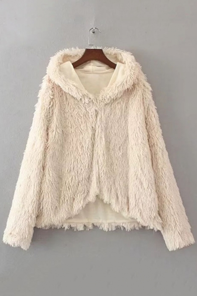 Faux Fur Coat Fashion Fluffy Hooded Winter Long Sleeves cpqWIS