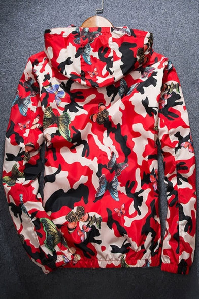 Butterfly Camouflage Print Zipper Long Sleeve Windproof Hooded Jacket