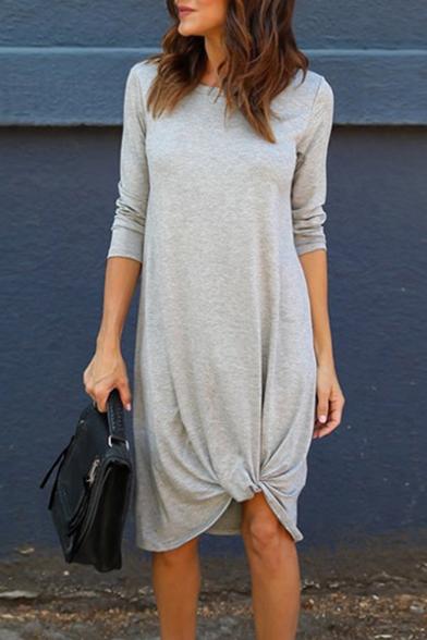Chic Simple Plain Round Neck Asymmetric Hem 3/4 Length Sleeve Midi Dress