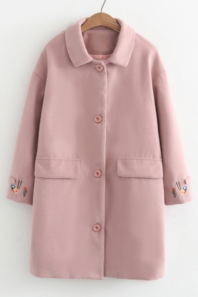 Embroidery Bird Pattern Long Sleeve Single Button Tunic Coat