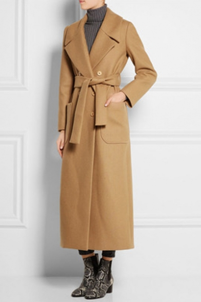 Fashion Plain Notched Lapel Long Sleeve Tie Waist Double Breasted Tunic Coat
