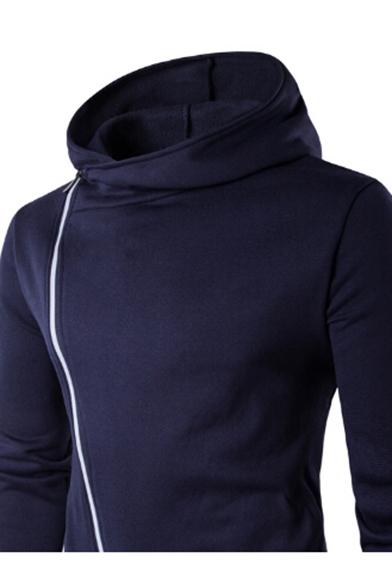 Long Leisure Sleeve Inclined Split Unisex Hoodie Plain Asymmetric Zipper Front aqxtrRSqw