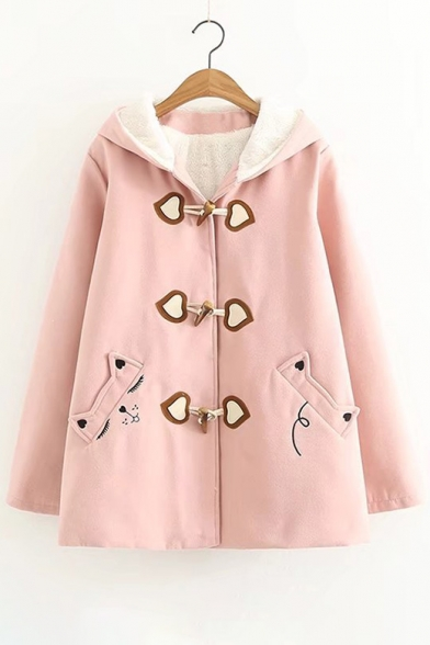 Coat Cat Leisure Cartoon Sleeve Long Woolen Embroidered rrYF5zq