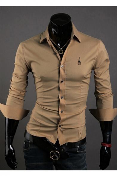 Men's Fashion Stand-up Collar Long Sleeves Turn-up Cuffs Button-Down Giraffe Embroidered Slim-Fit T-shirt, Dark green;dark navy;beige;yellow;khaki, LC455618