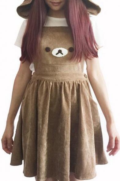 New Fashion Bear Pattern Mini Overall Dress with Hood