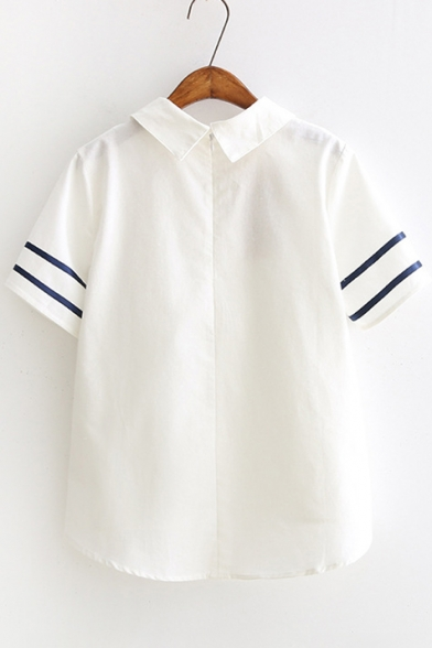 New Fashion Chic Lapel Contrast Ribbed Short Sleeve Blouse