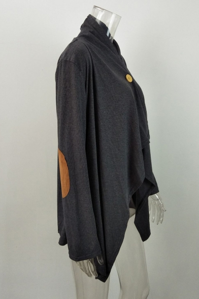 New Fashion Leisure Single Button Asymmetric Hem Long Sleeve Coat
