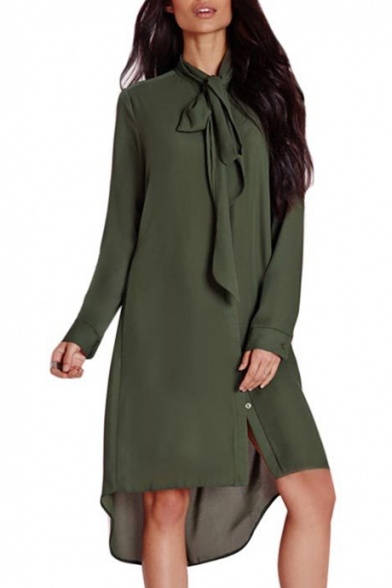 New Fashion Simple Plain Dipped Hem Long Sleeve Buttons Down Shirt Mini Dress