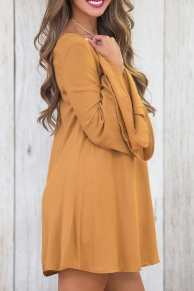 New Fashion Simple Plain Round Neck Long Sleeve Shift Mini Dress