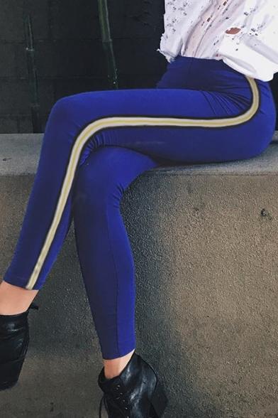 New Fashion Striped Side Elastic Waist Skinny Sports Leggings