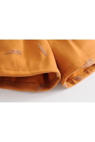 New Stylish Feather Pattern Elastic Waist Shorts