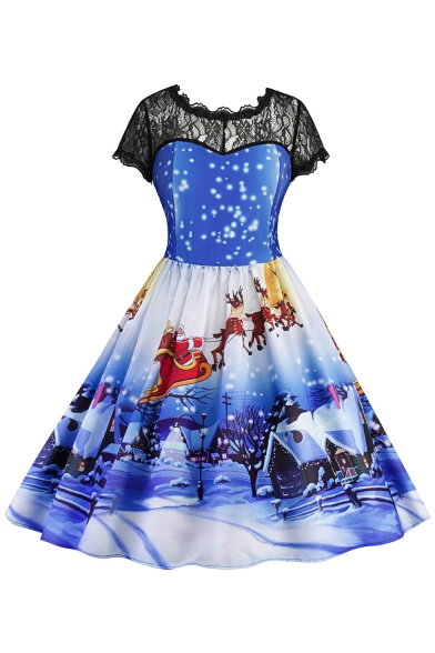 dd6d64bf6a5b Snow Santa Deer Christmas Printed Short Sleeve Midi Fit & Flare Lace Panel  Dress ...