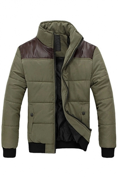 Padded Stand Block Zip Collar Simple Color Up Up Coat Long Sleeve q7Bxgz