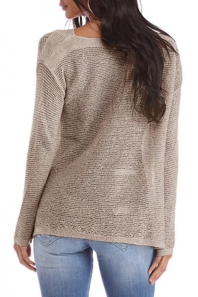 Simple Split Dipped Plain Sleeve Long Side Hem Pullover Sweater rqrTwxSp