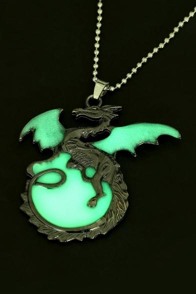 Ancient Dragon Luminous Antique Pewter Necklace